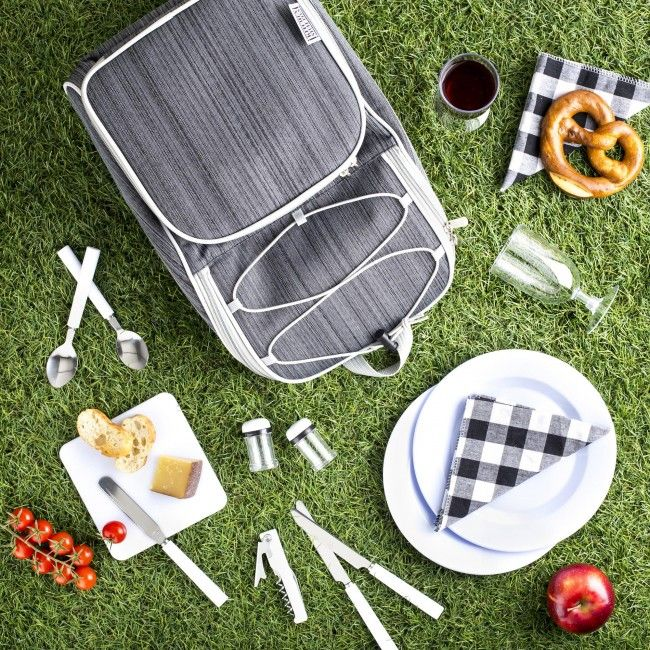 Have a gourmet picnic anywhere with this convenient backpack set that includes everything but the kitchen sink! The built-in cooler compartment keeps drinks cold or keeps food warm. Lightweight and easy to carry with ergonomic backpack straps.