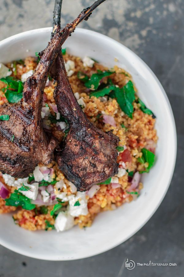 Mediterranean Grilled Lamb Chop Recipe with Tomato MIint Quinoa | The Mediterranean Dish. Comes together in like 30 mins! Chops from tender rack of lamb, spiced and marinated in a Mediterranean rub and grilled to perfection! With a simple flavor-packed tomato mint quinoa. A MUST try!