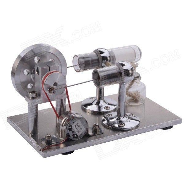 NEJE DIY Hot Air Stirling Engine Motor Model Toy - Silver + Red