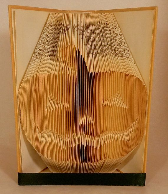 Pumpkin Face folded book art - Halloween - Scary head - Jacko Lantern - Personalized unique Anniversary Gift - E248