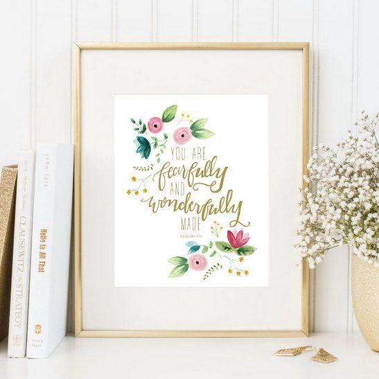 Impresión de las escrituras infantiles, 8 x 10, imprimible, Salmos 139, eres formidable y maravillosamente hecho, acuarela de flores, rosa vivero oro