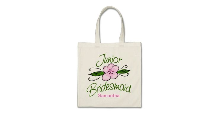 Junior Bridesmaids gifts, t-shirts, jewelry and wedding party keepsakes you can personalize with the Jr. Bridesmaid's name or other text. Design features a pretty pink and green flower.