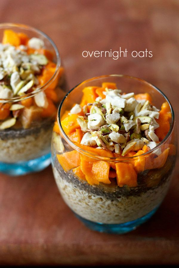 overnight oats recipe - no cook recipe method of quick cooking oats or rolled oats soaked overnight in water, milk or yogurt #oats #worldcuisine