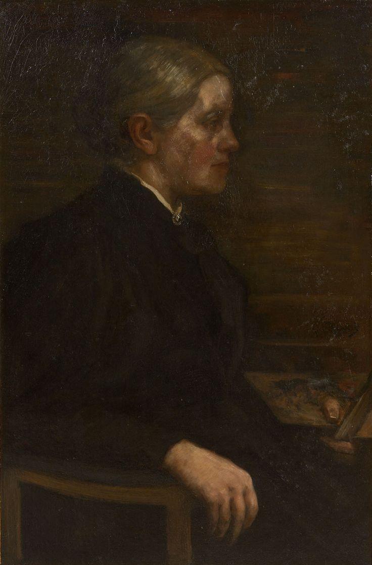 Portret van Sientje Mesdag - van Houten met schilderspalet. Maker: Marinus van der Maarel