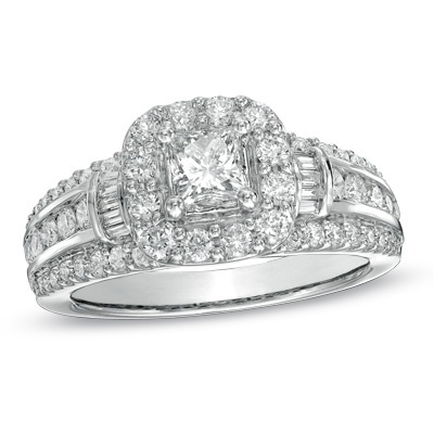 1-1/2 CT. T.W. Princess-Cut Diamond Frame Ring in 14K White Gold