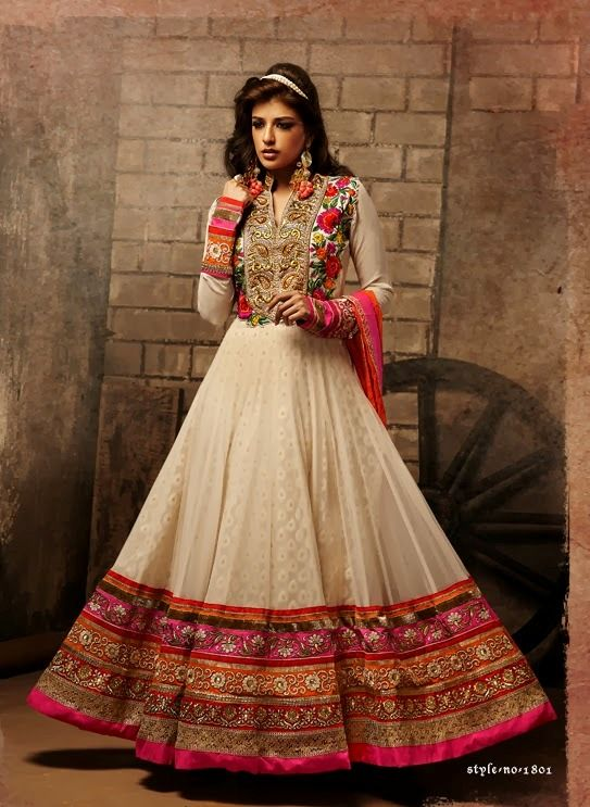 Beige Heavy Embroidery Anarkali Suit-1801