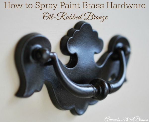 Tutorial How to Spray Paint Brass Hardware with Oil-Rubbed Bronze  www.amandajanebrown.com
