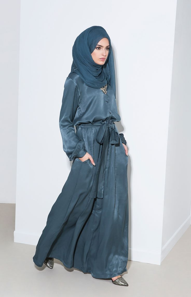 Tepid Teal Chiffon Silk Hijab