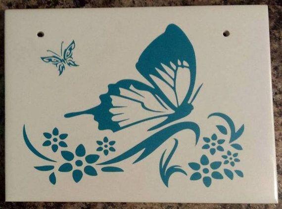 Vinyl on ceramic tile decorative butterfly by SuperBVinyl on Etsy