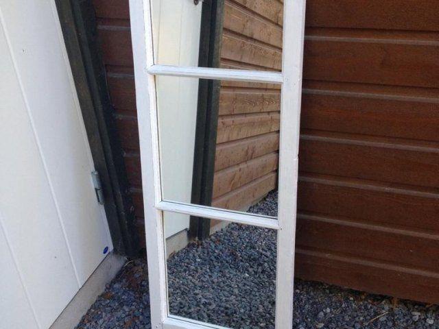 Gammal Fönster spegel 1920 tal. mått bredd 47 cm höjd 136 cm Gammal fönster spegel mått bredd  47 cm höjd 157 cm