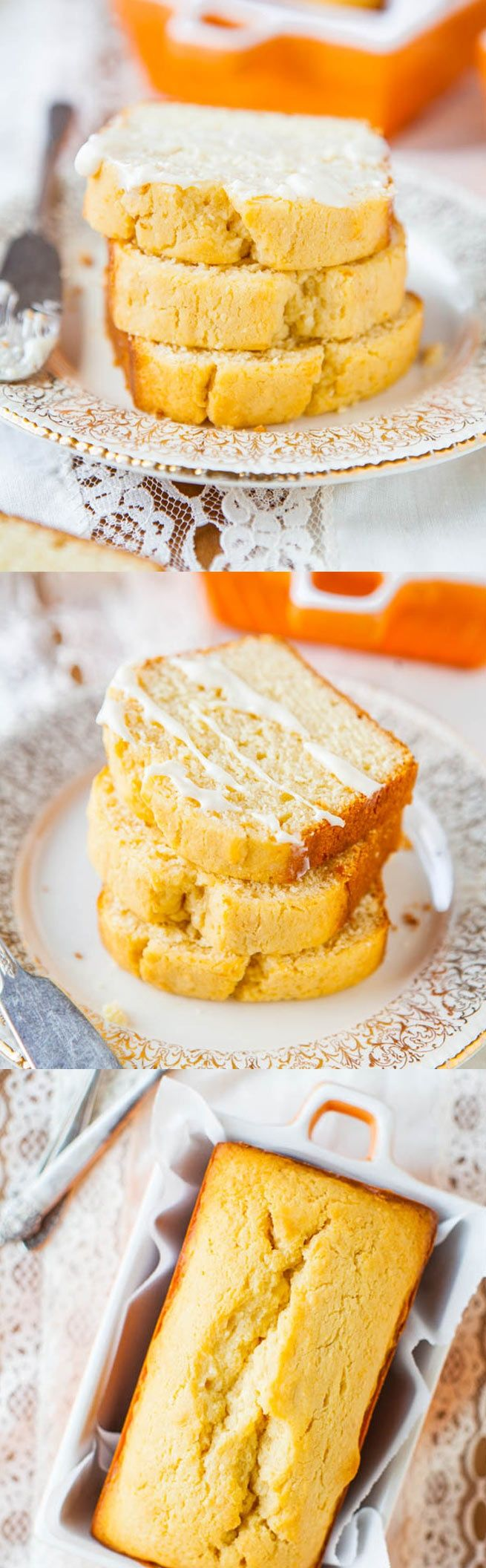 Mini Cream Cheese Pound Cakes with Vanilla Cream Cheese Glaze - Finally pound cake that's NOT dry thanks to the cream cheese! Recipe makes 2 mini cakes (since swimsuit season is coming!)
