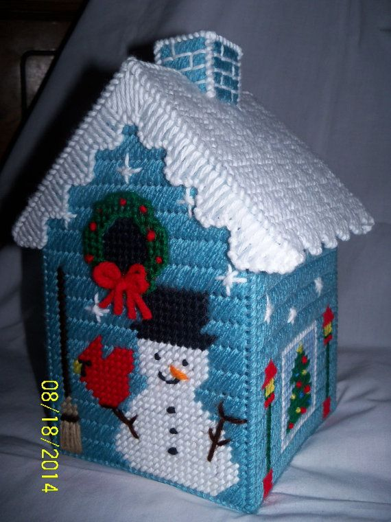 Holiday Snowman Tissue Box Cover Ice Aqua by twobrotherscraft