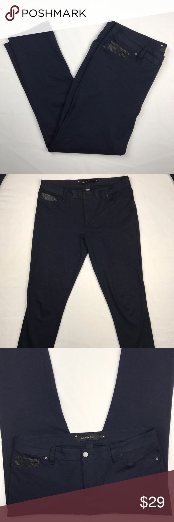Calvin Klein Jeans Size 14 Dark Navy Blue Jeggins Calvin Klein Jeans Size 14  Dark Navy Blue Womens skinny fit Jeggings. Zipper and button closure. Functioning back pockets. Dark Rinse Leggings a dark rinse updates these slimmest fit jeans in soft cotton stretch. Calvin Klein Jeans sits at the waist, slimmest fit + skinny leg leggings dark rinse zip fly button front closure 5 pocket styling belt loops logo patch on back of waistband   AB4.117  Inseam: 26  65% Viscose 29% Nylon 6% Elastane…