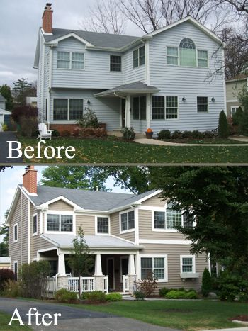 Exterior home renovation - pinning it to remind myself of what a few changes can do.