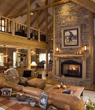 find this pin and more on love log cabins american lifestyle living - Log Cabin Living Room