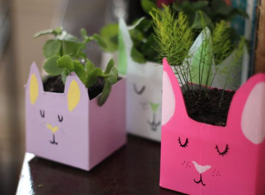 How To: Bunny Planters From Recycled Milk Cartons |