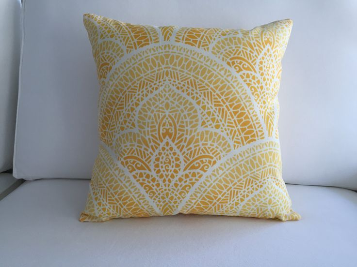 """Yellow Pillow Cover 16"""" x 16"""", Outdoor Pillow, Decorative Pillow, Throw Pillow, Pool Pillow, Accent Pillow, Cushion, Modern Pillow, Pillow by Casasell on Etsy"""