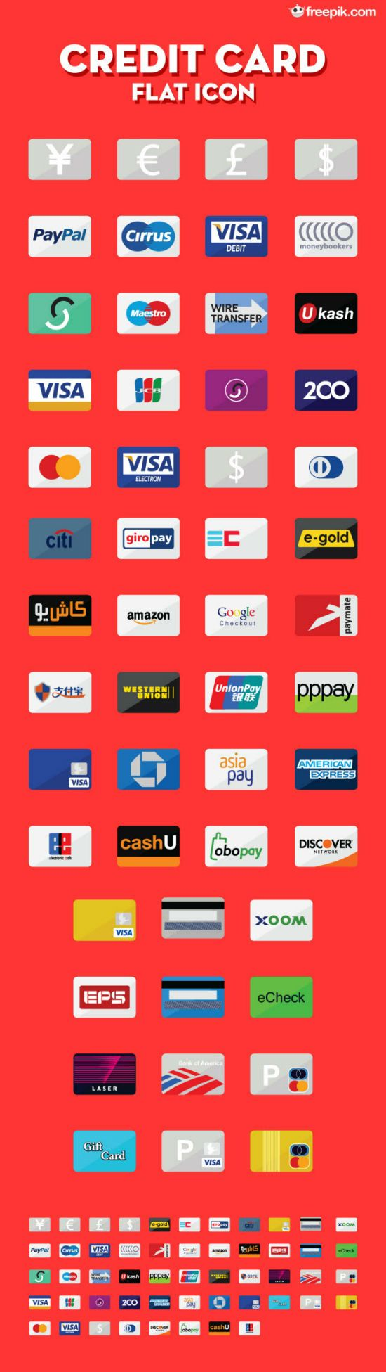 Credit Card Flat Icons: 50+ Symbols in PNG, AI, EPS and SVG by Freepik >> http://www.noupe.com/freebie/e-commerce-freebie-on-noupe-50-credit-card-flat-icons-by-freepik-80402.html