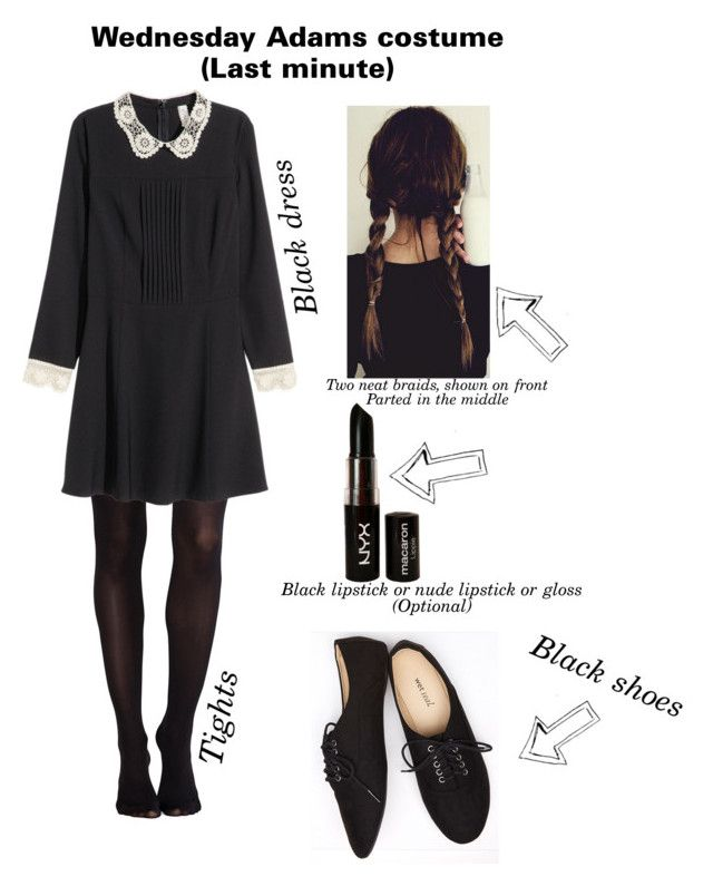 """""""Last mintute costumes (Wednesday Adams)"""" by hopecassia19 ❤ liked on Polyvore featuring SPANX, H&M, Wet Seal and NYX"""