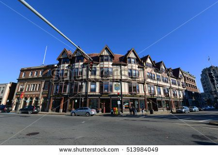 QUINCY, MA, USA - OCT. 20, 2013: Adams Building, built in 1880, is a historical commercial building with Tudor Revival style at Hancock Street in downtown Quincy, Massachusetts, USA.