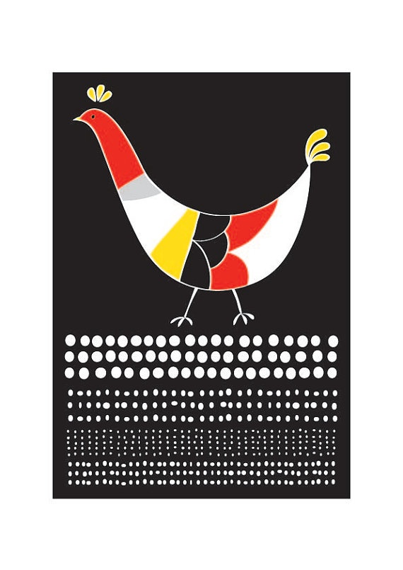 Lovely Hen Art Print Animal Illustration Geomery by dekanimal, $18.00