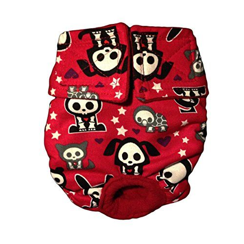 Dog Diapers - Made in USA - Skelanimals on Red Washable Cover-up / Diaper, XXL for Dog Incontinence, Housetraining and Females in Heat * Click image for more details. #DogHousebreakingSupplies