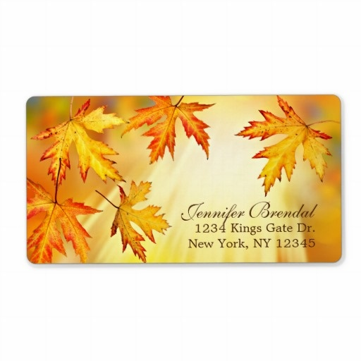 fall return address labels with autumn leaves