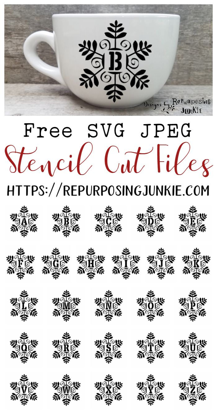 Free SVG Snowman Snowflake Initial Monogram Stencil Cut