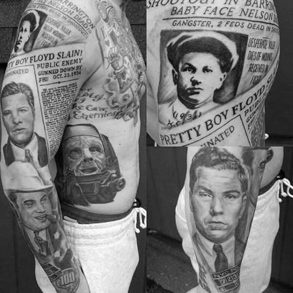 Mobster And Gangster Newspaper Mens Full Sleeve Tattoos