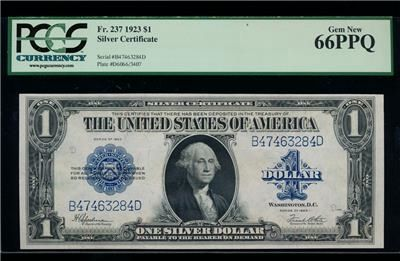 Striking AC Fr 237 $1 1923 Silver Certificate PCGS 66 PPQ Gem! https://www.paper-money-collector.com/product/ac-fr-237-1-1923-silver-certificate-pcgs-66-ppq-gem/ #Numismatics #UnitedStates #Silver
