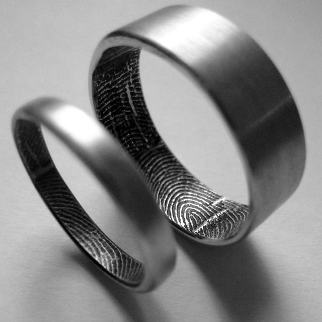 Personalised rings with your fingerprints...I'd love to have my future husband's fingerprints for my ring to always be with me!
