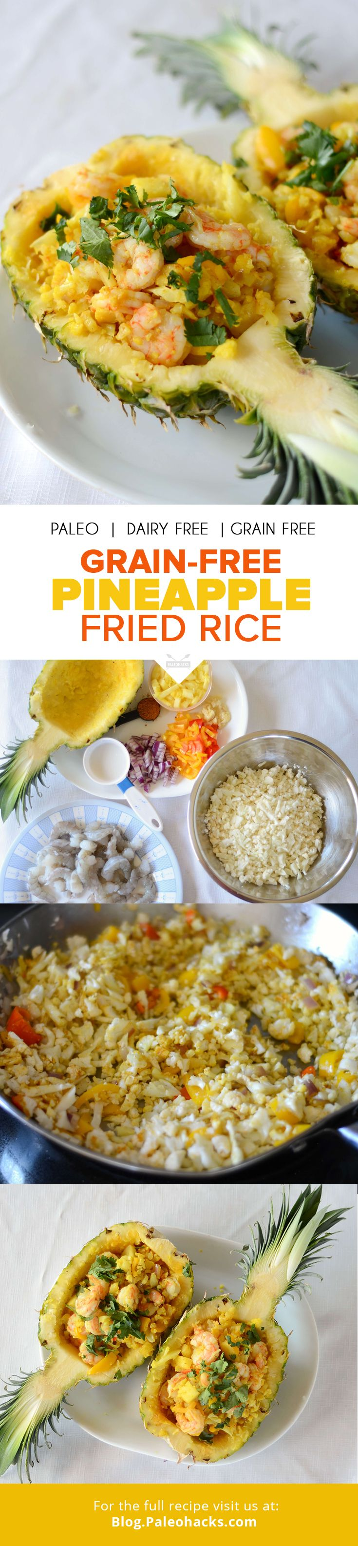 PIN-grain-free-pineapple-fried-riceWant a super simple stovetop dinner that tastes fancy? Try this low-carb take on fried rice with shrimp, pineapple, and peppers. It's served in a hollowed-out pineapple for an extra wow factor! For the full recipe please visit us at: http://paleo.co/GrainFreeFriedRice #paleohacks #paleo