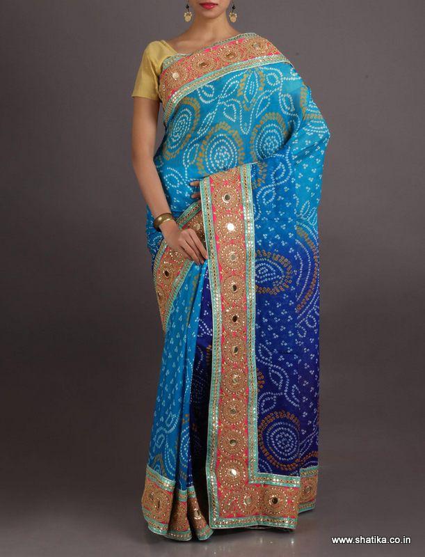 Deepalcool Blue Grand Border Pure Crepe Chiffon #BandhejSaree