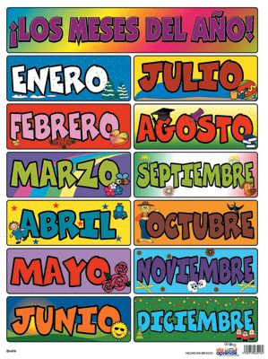Los meses - Months of the Year in Spanish