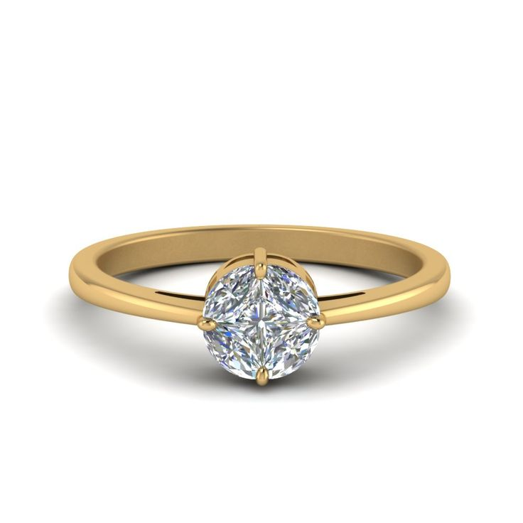 Invisible Set Round Diamond Ring In 14k Yellow Gold In