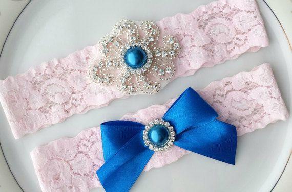 Rhinestone Garter Set Pink Blue Silver Bead by TheTossedBouquet