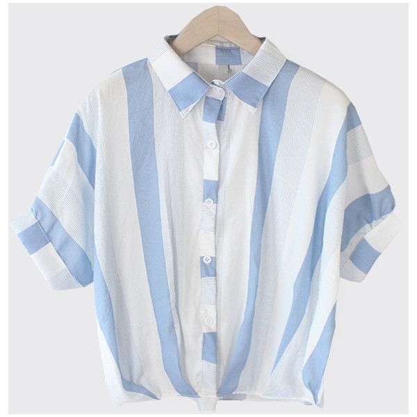 Vertical Striped Dolman Sleeve Blouse - Blue (31 AUD) ❤ liked on Polyvore featuring tops, blouses, batwing sleeve tops, striped blouse, batwing tops, vertical stripe blouse and short sleeve tops