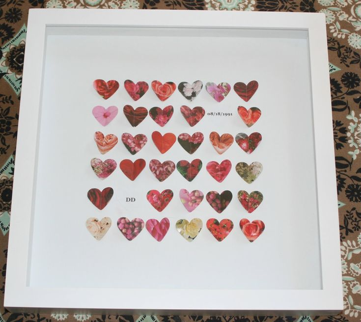 or Wedding Gift Frame with hearts, couples initials and their wedding ...
