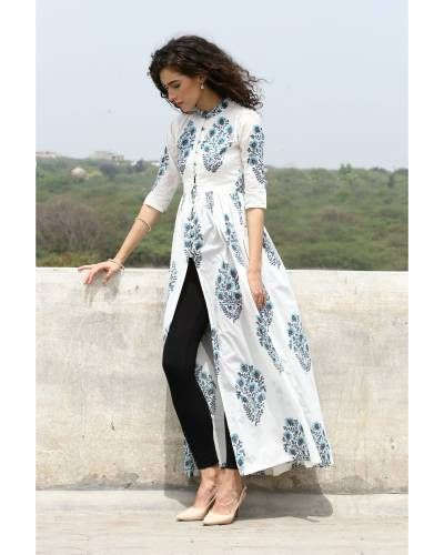Turquoise And Blue Block Printed Cape I Shop at :http://www.thesecretlabel.com/desi-doree