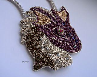 koralikowe fantazje Noiree: Dragon - this big pendant was made from Toho beads #beads #embroidery #pendant