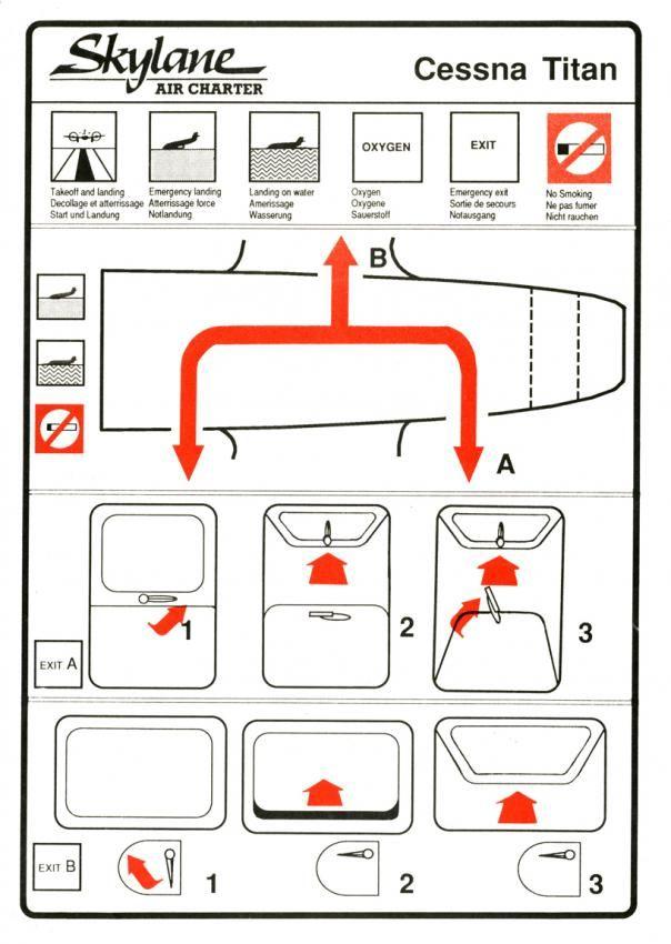 Skylane Air Charter Cessna 404 Titan passenger safety card created by Hans Baumhardt