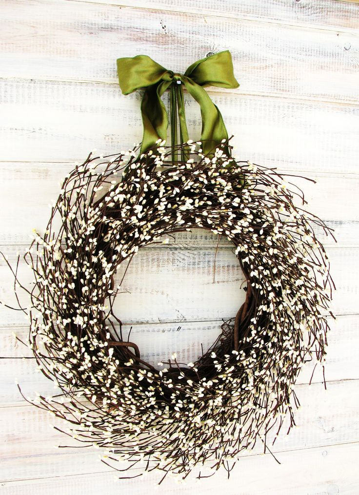 VICTORIAN COUNTRY COTTAGE-Christmas Wreath-White Berry Wreath-Rustic Home Decor--Scented Vanilla Sugar-Choose Scent & Ribbon Color. $59.00, via Etsy.