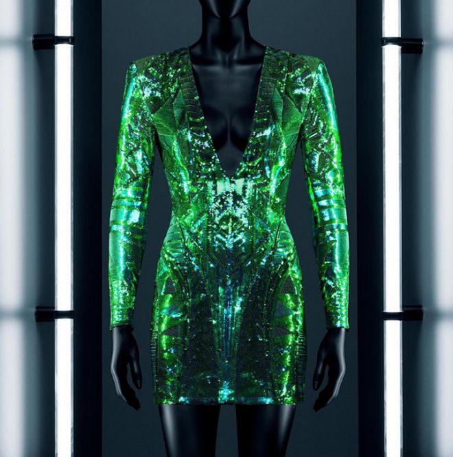 Green sequinned long-sleeve minidress from Balmain x H&M