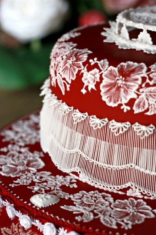 cakeRoyal Ice, Holiday Cake, White Wedding Cake, Cake Decor, Stringwork, Wedding Cakes, Decor Cake, Brushes Embroidery, Red Wedding