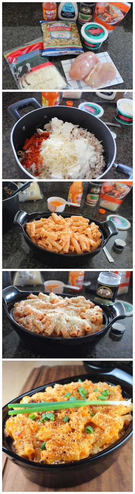 Buffalo Chicken Baked Pasta | Quick & Easy Recipes...I might actually like this without blue cheese. Maybe I would use ranch instead :-)