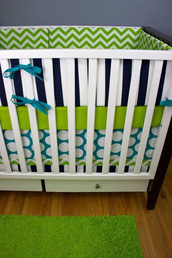 Baby Boy Cribs: Bumpers/ Sheet/ Skirt/ Applique Pillow (Baby Boy Bedding