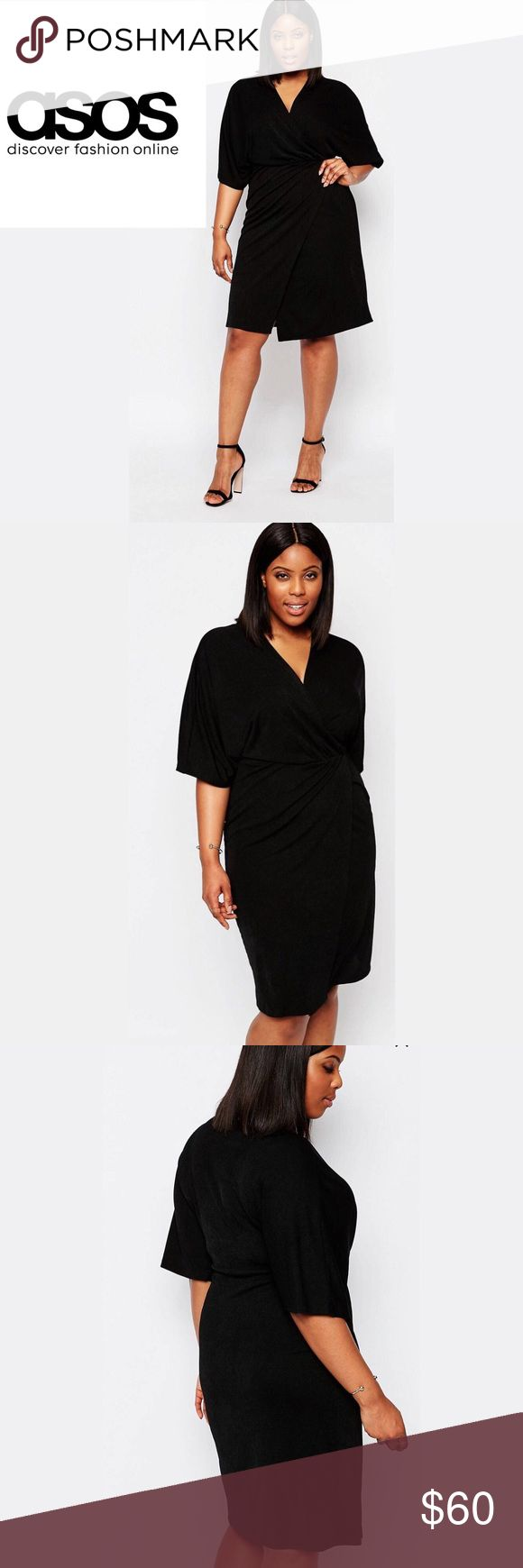 🆕 listing!  ASOS Black Wrap Dress Club L brand from ASOS.  Stretchy black v-neck dress with a wrap style front.  Super flattering! True to size.  95% polyester 5% elastane.  The fabric has a bit of texture and weight to it. I love it but I have too many black dresses and need to chill ;) ASOS Dresses Midi