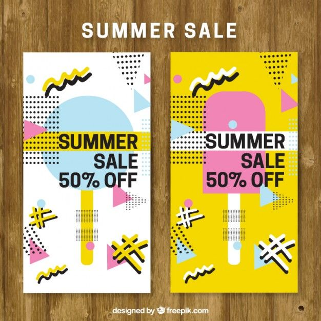 Summer sale brochure in memphis style  Free Vector