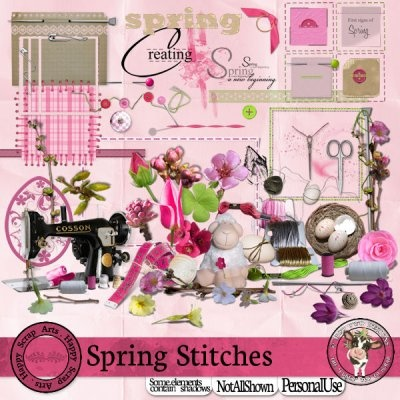 Spring Stitches [Happy Scrap Arts] - $5.95 : Moo Two Designs, The Udder way to Scrap!