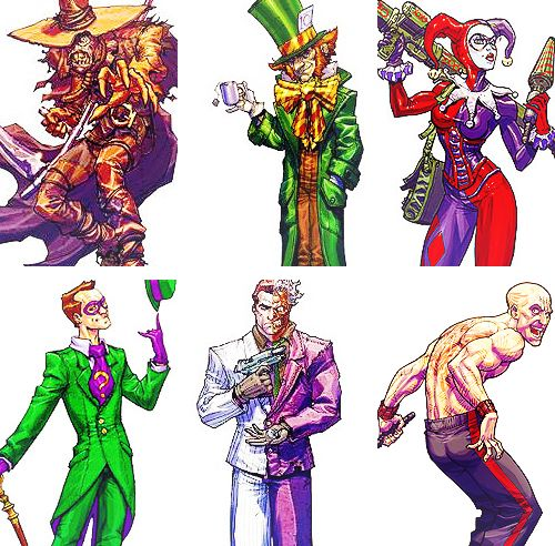 Batman: Arkham Asylum - Scarecrow, Mad Hatter, Harley Quinn, The Riddler, Two Face and Zsasz